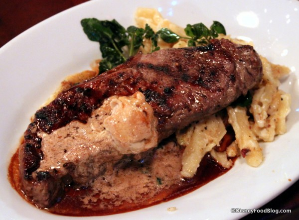 Strip Steak and Mac and Cheese at Mama Melrose's