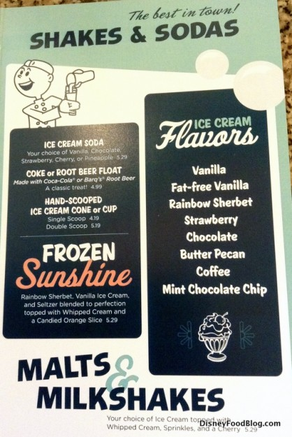Malts, Shakes and Sundaes menu