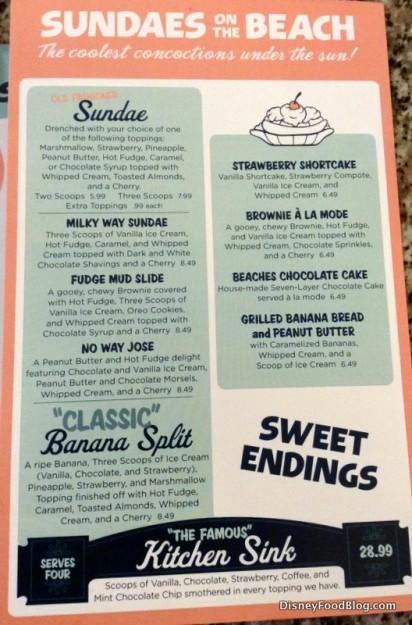 Beaches and Cream ice cream menu