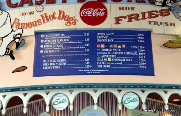 Casey's Corner menu