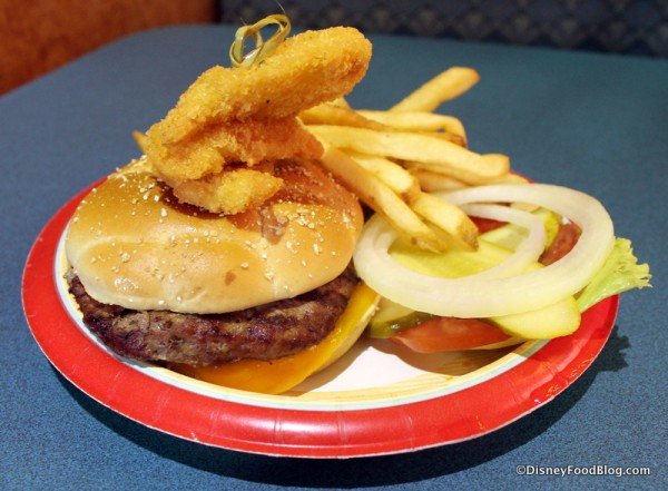 Cheeseburger with Fried Shrimp