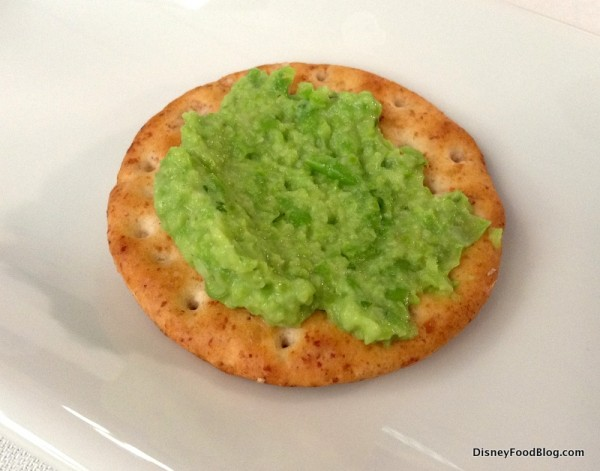 Pea and Garlic Dip on a cracker