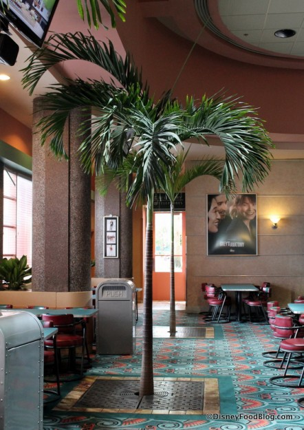 Palm tree in seating area
