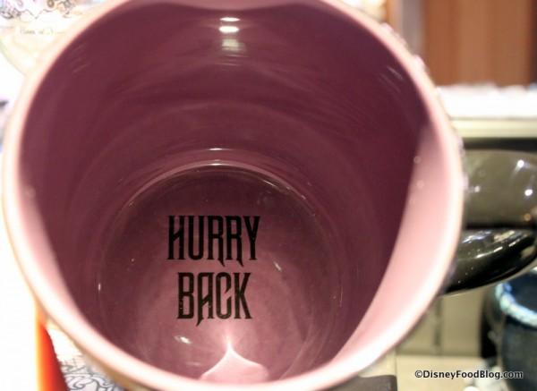 """Hurry back"""