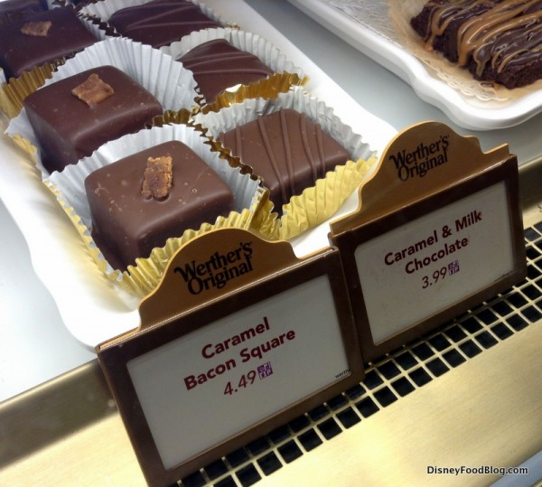 Caramel Bacon Square next to Caramel and Milk Chocolate in bakery case