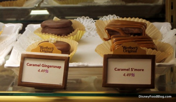 Caramel Gingersnap and Caramel S'more in bakery case