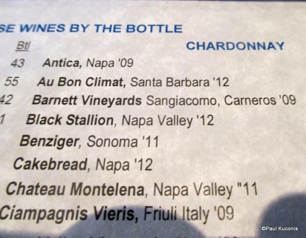 Black Stallion Chardonnay Menu Item