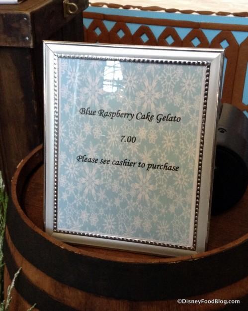 Blue Raspberry Cake Gelato sign