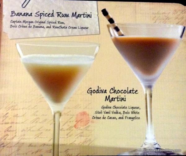 Banana Spiced Rum Martini and Godiva Chocolate Martini