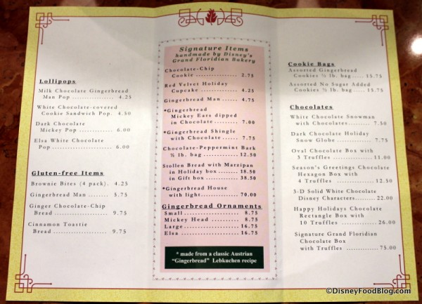 Grand Floridian Gingerbread House Treat Menu