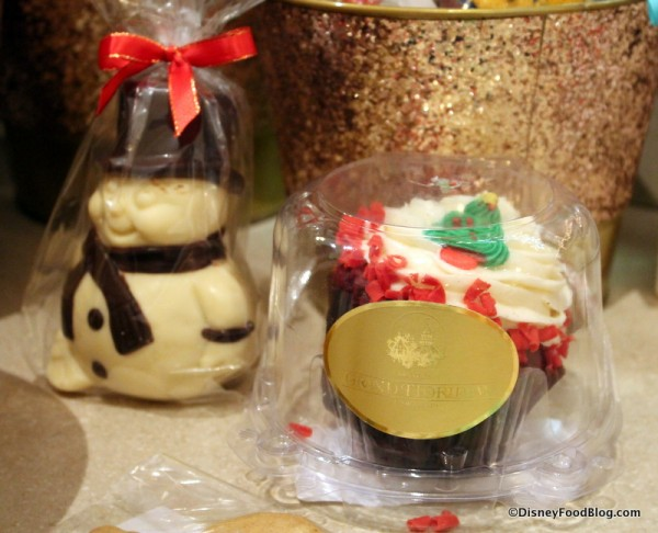 White Chocolate Snowman and Red Velvet Cupcake