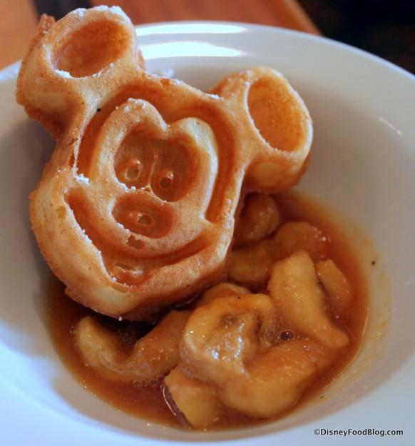Mickey Waffle and Bananas Foster Syrup