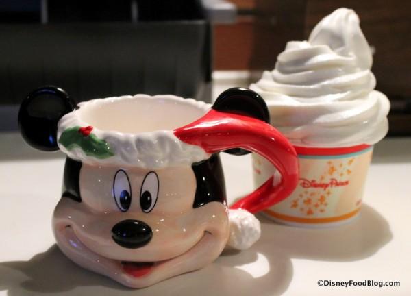 Santa Mickey mug and vanilla soft serve