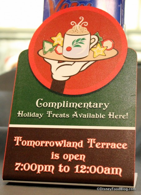 Complimentary Holiday Treat sign