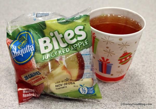 Apple slices and apple juice