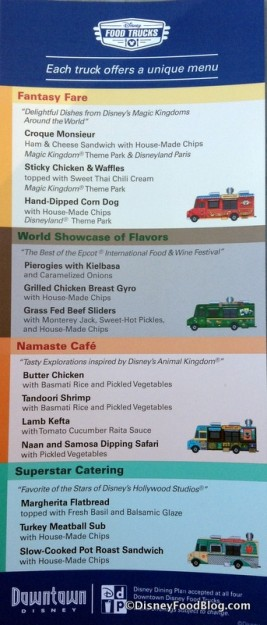 Disney Food Truck Menus -- click to enlarge