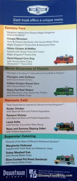 Disney Food Truck Menus -- click to enlarge