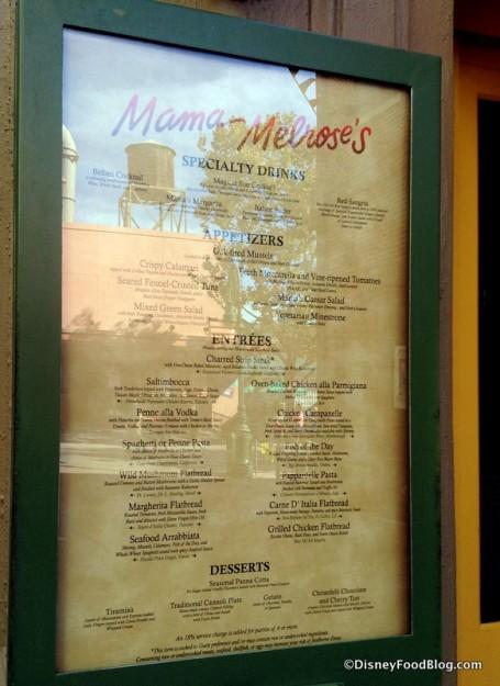 Mama Melrose menu