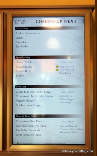 Specialty Shop Dinner choices