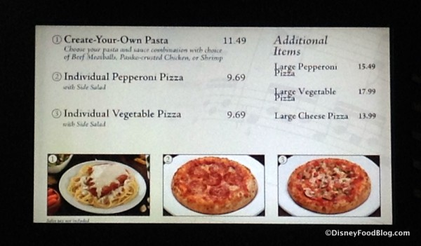 Pizza and Pasta Shop menu
