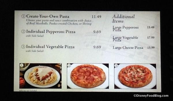 Pizza and Pasta Shop menu
