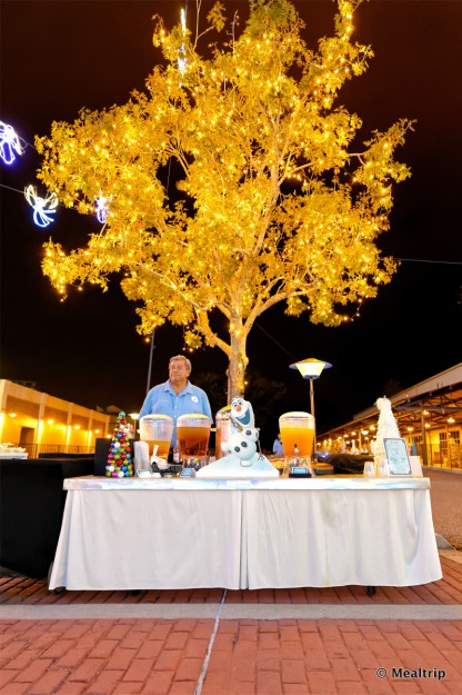 Beverage Table and Gorgeous Lights at the Frozen Holiday Dessert Party