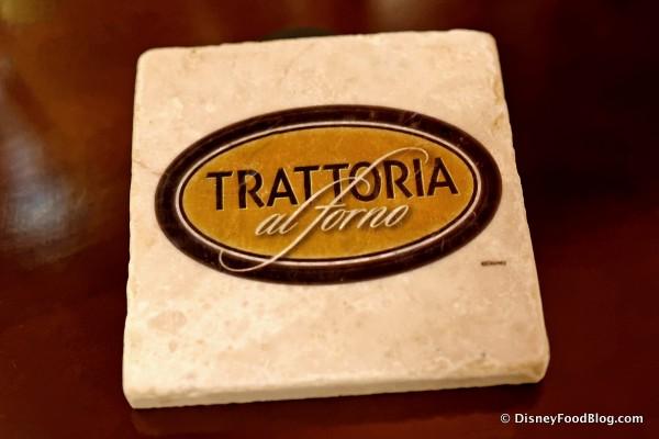 Trattoria al Forno Logo on Brand-New Coasters