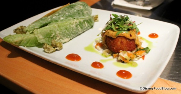Crispy Crab Cake and Caesar Salad