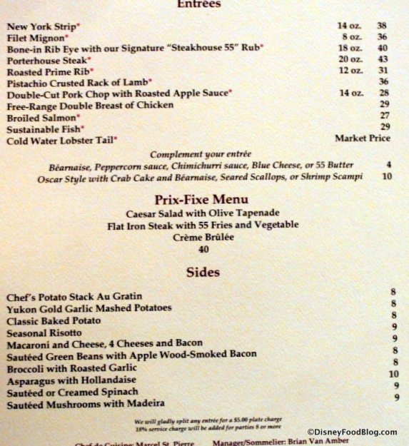 Menu -- Main Dishes and Side Dishes -- Click to Enlarge