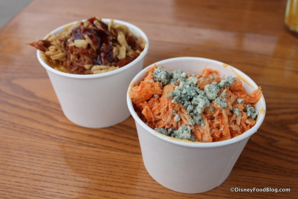 Barbecued Pulled Pork Macaroni & Cheese and Buffalo Chicken Macaroni & Cheese