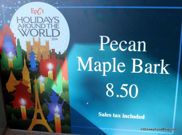 Epcot's Holidays Around the World -- Pecan Maple Bark in the Canada Pavilion