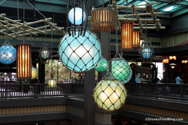 Lighting fixtures hanging over the Polynesian lobby
