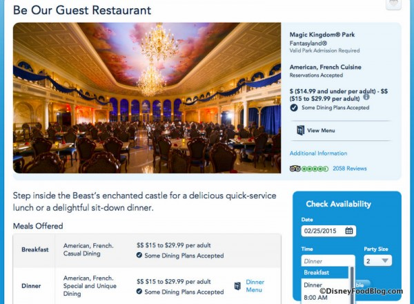 Be Our Guest Breakfast Option on Disney World Website