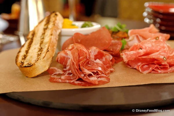 Thin Sliced Italian Cured Meats with House-Pickled Peppers, Olives, and Caponata -- Up Close