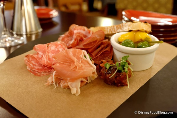 Thin Sliced Italian Cured Meats with House-Pickled Peppers, Olives, and Caponata -- Different Angle