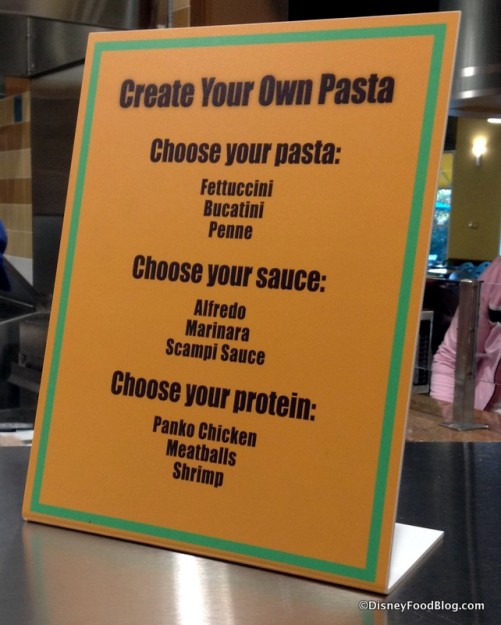Create Your Own Pasta options