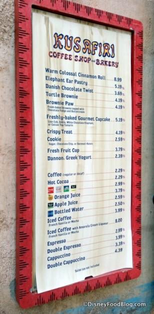 Kusafiri Bakery menu