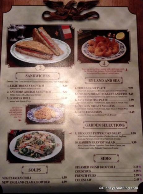 Columbia Harbour House menu