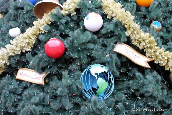 Epcot Christmas tree ornaments