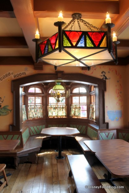 Stained glass lamp and window seating