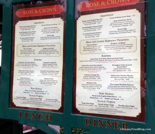 Rose and Crown menu