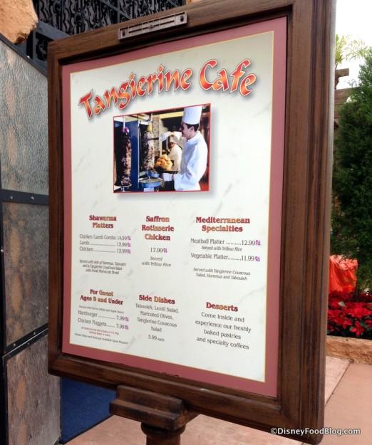 Tangierine Cafe menu