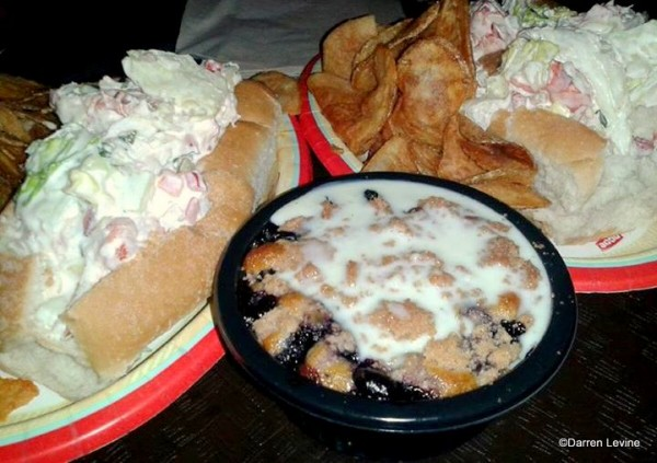 Lobster Roll and Blueberry Cobbler