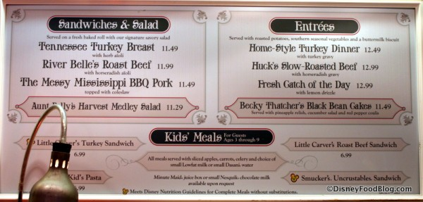 Lunch and Dinner Menus -- Click to Enlarge