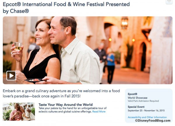 Epcot International Food and Wine Festival page on Disney website