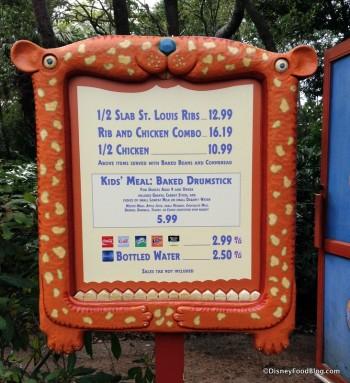Temporary Menu for Beastly and Gardens Kiosks