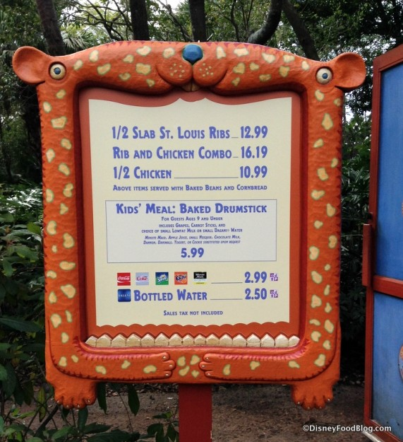 Temporary Menu for Beastly and Gardens Kiosks