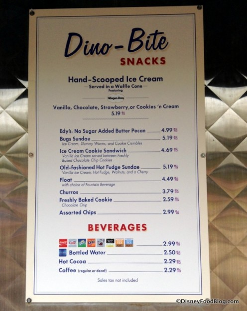 Dino-Bite Snacks Menu