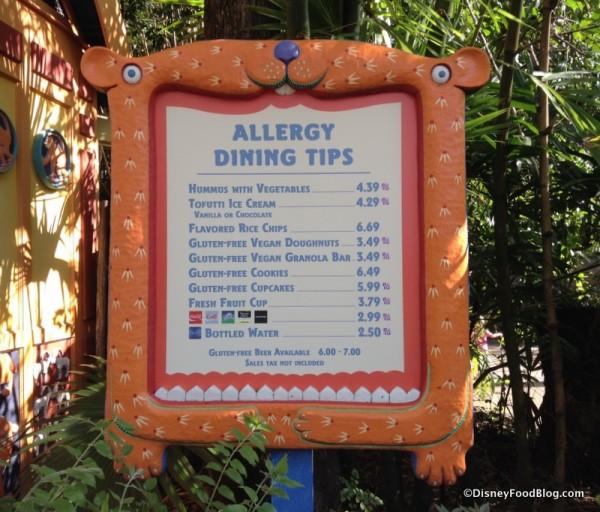 Allergy-friendly kiosk menu