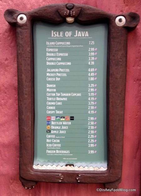Isle of Java Menu